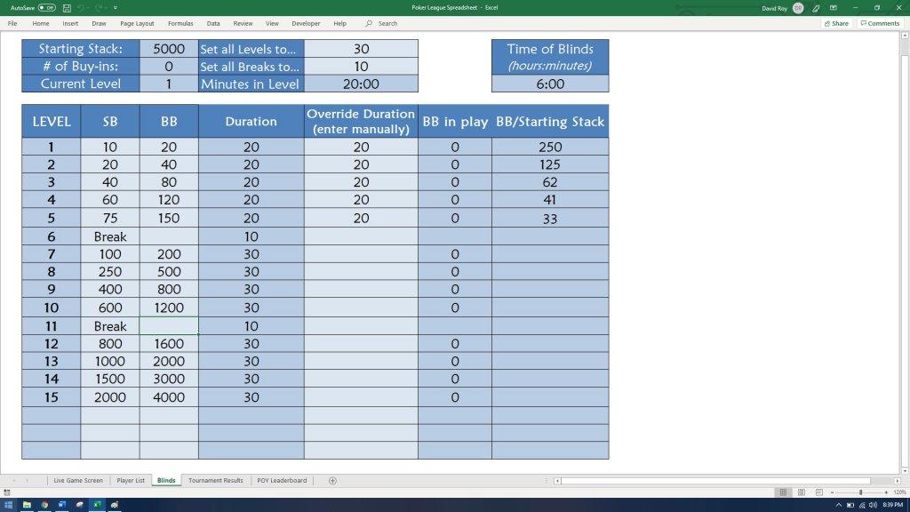Poker Tournament Formula Spreadsheet