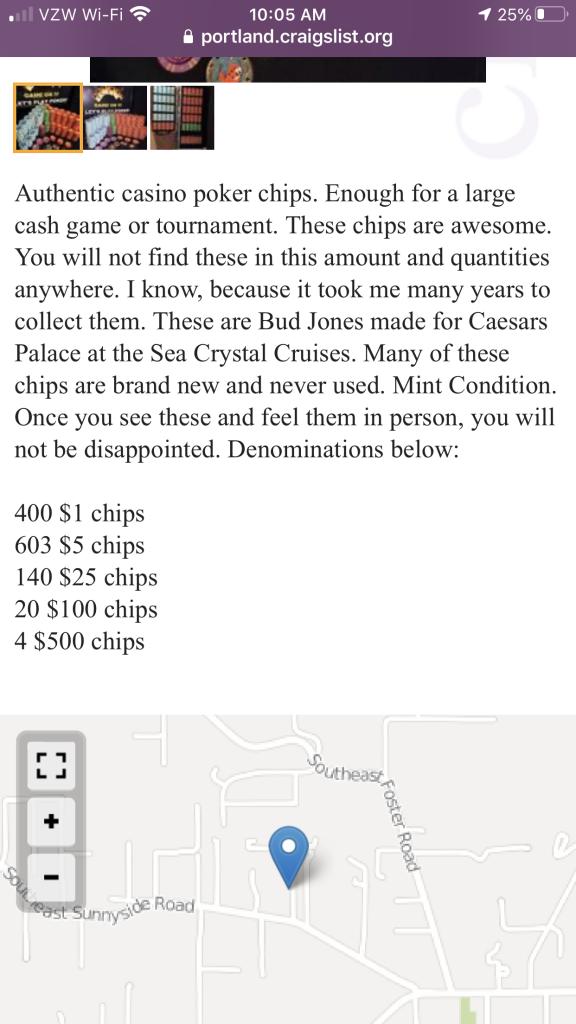 Not Mine Wet Chips Craigslist Portland Area Poker Chip Forum