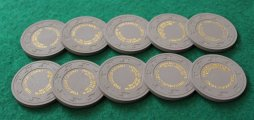 Paulson The Lodge Casino - Show boat grey roulette chips #01.JPG