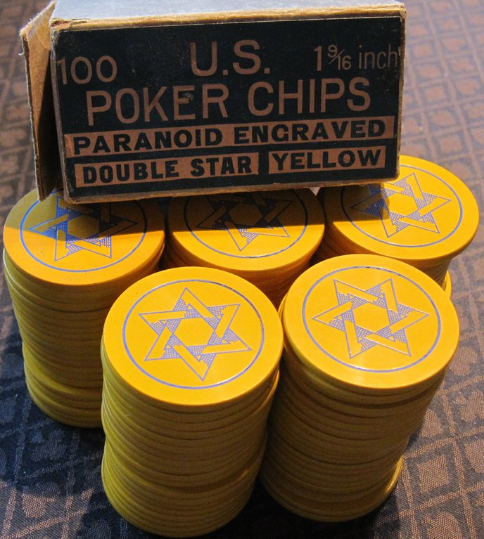 Mint yellow Double Star chips with original box